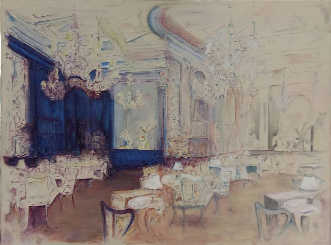 'Dining Room 2', Linda Black, Oil on canvas, 46 x 61 cm