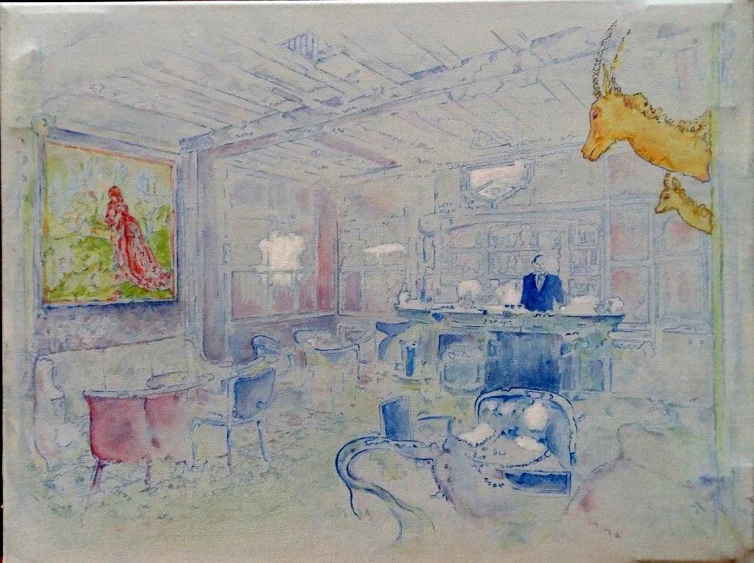 'Lounge', Linda Black, Oil on canvas, 46 x 61 cm