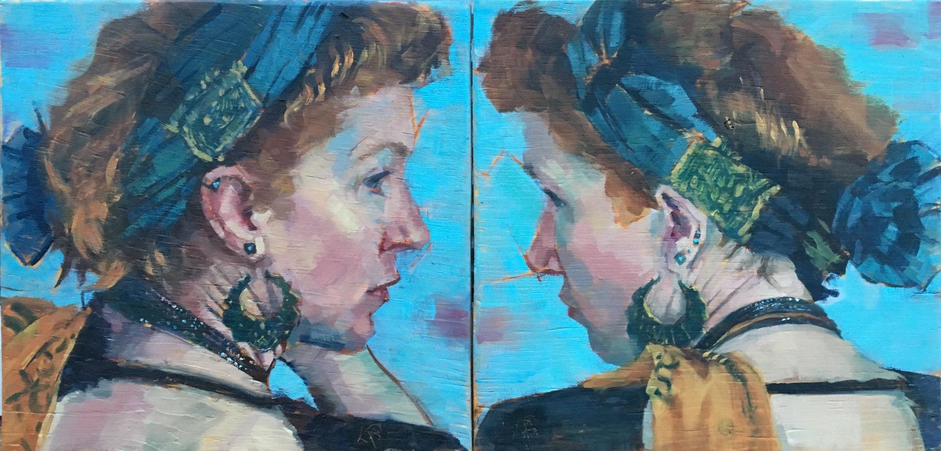 'Duality (diptych)', Lisa Puhlhofer, Oil on Board, 22.5 x 45 x 1 cm