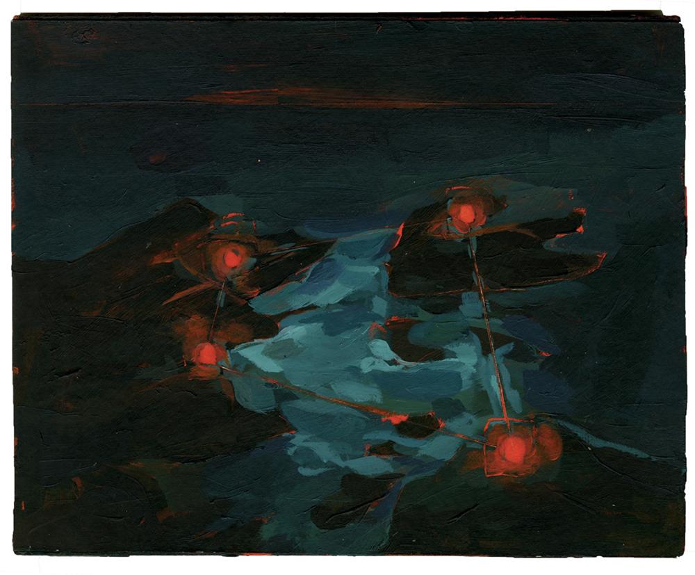 'Night Visitors', Livia Gravil, Acrylic on board, 19.5 x 20 x 1 cm