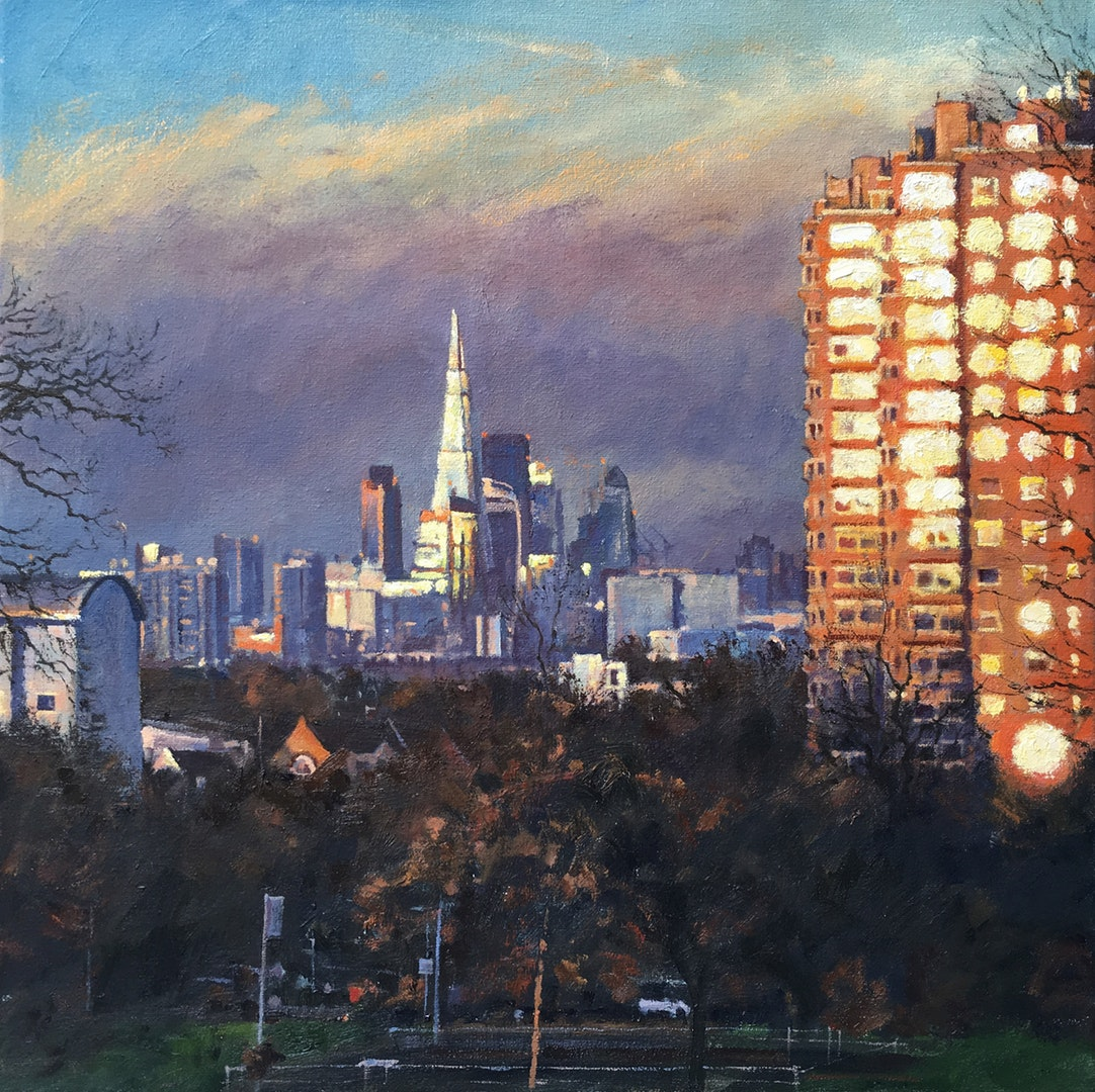 'Falling light, City view from Brockwell Park', Mark McLaughlin, Oil on board, 40 x 50 cm