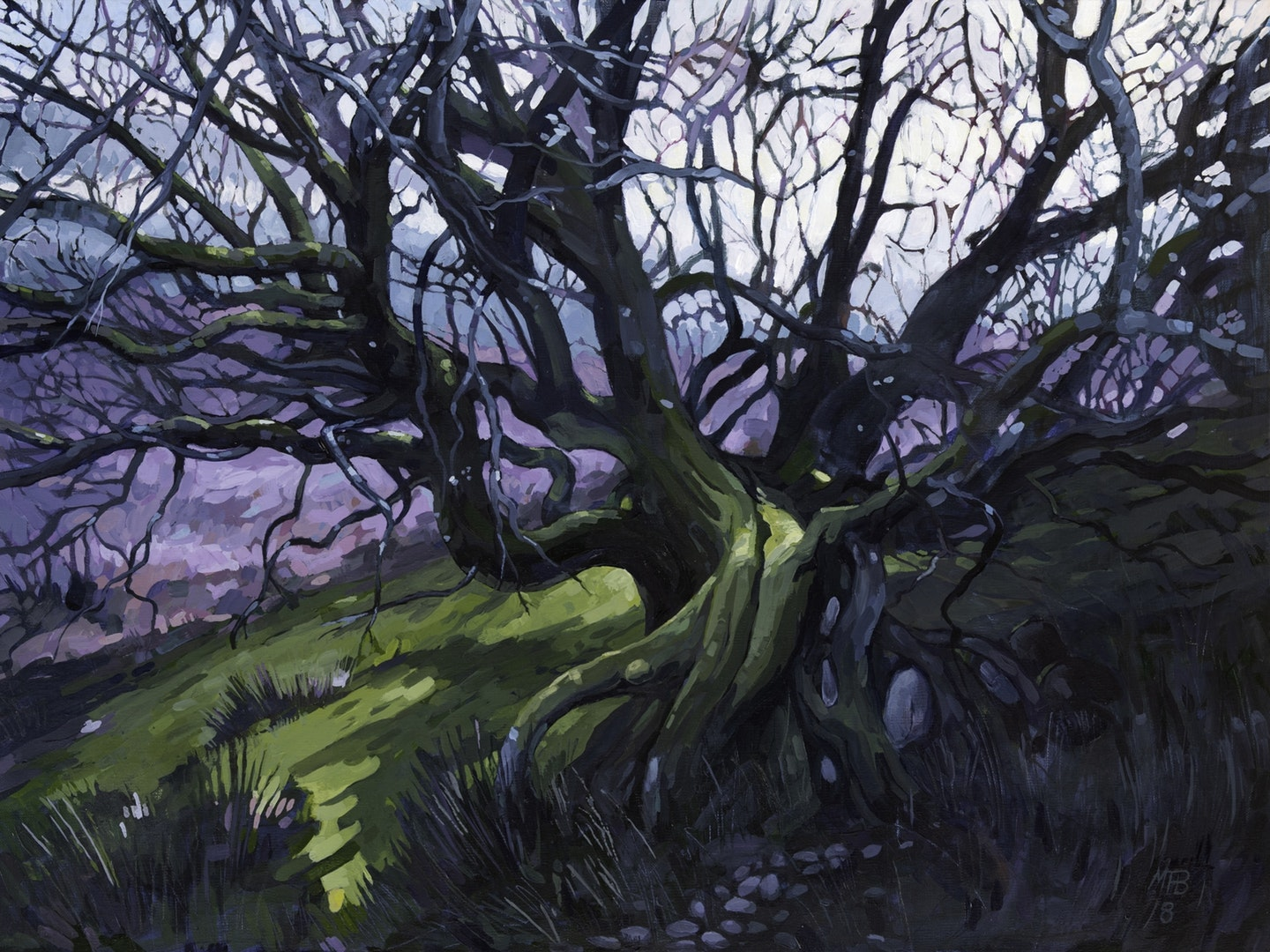 'Twisting Tree', Martin Truefitt-Baker, Acrylic paint on linen, 46 x 61 cm