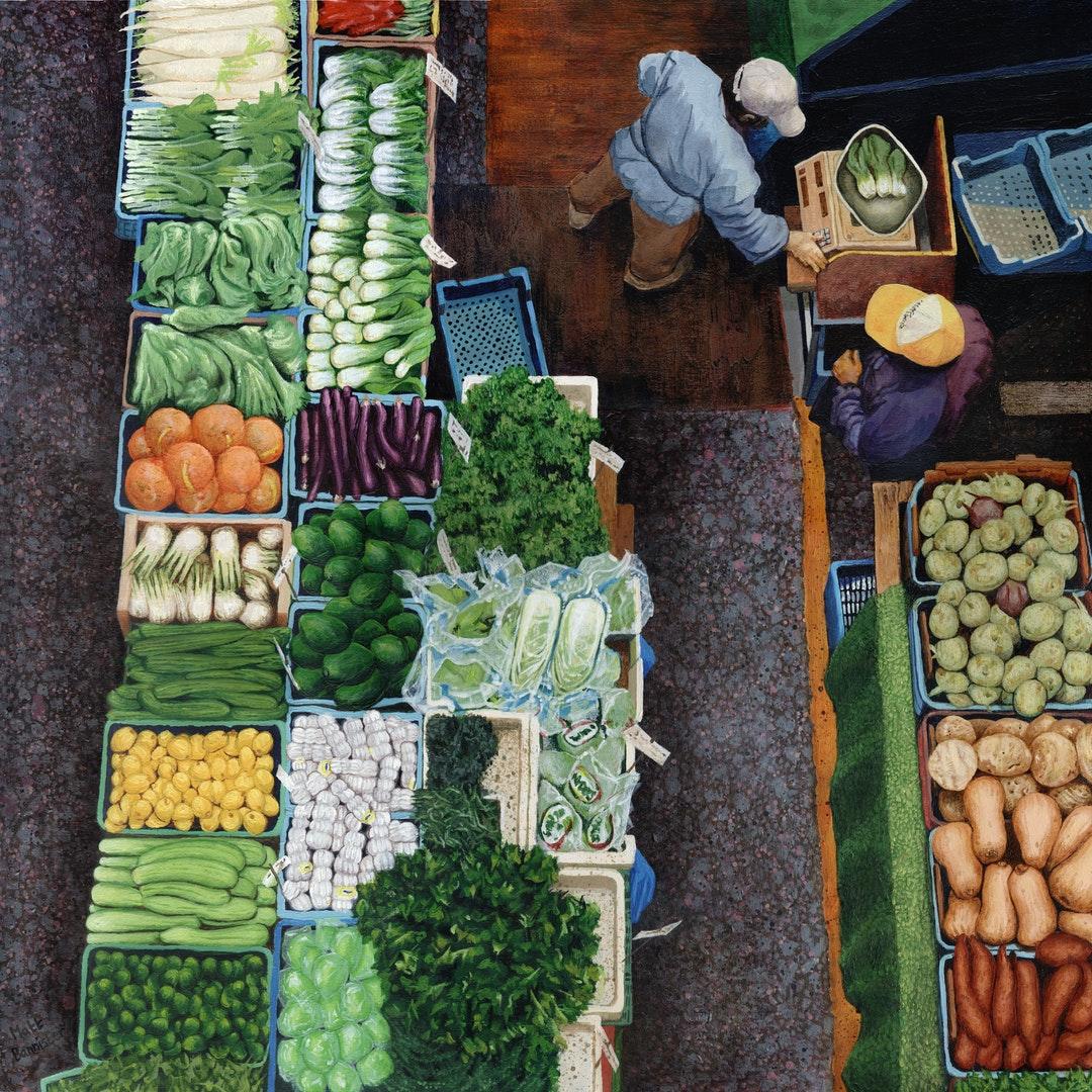 'Market', Matt Bannister, Acrylic on wood panel, 40 x 40 x 2 cm