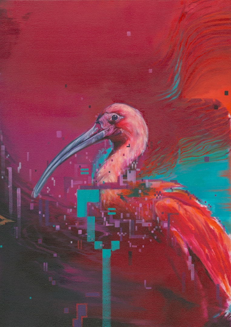 'Ibis I', Matthieu Leger, Oil on Canvas over birch panel, 50 x 70 cm