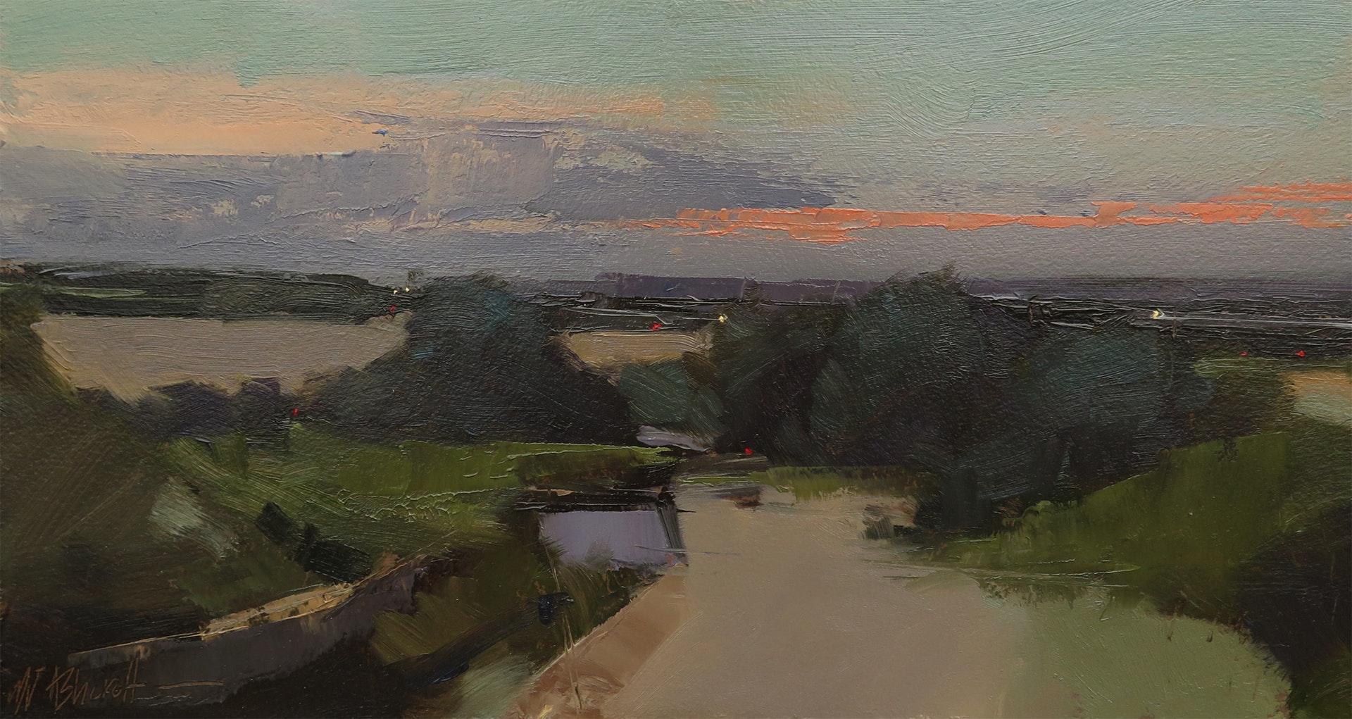 'Sundown', White Coppice, Michael Ashcroft, Oil, 15 x 28 x 1 cm