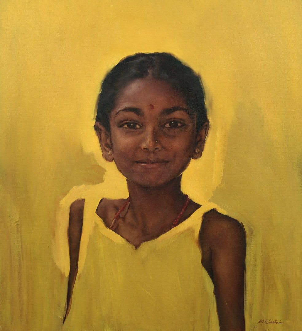 'Indian Girl', Michael Austin, Oil, 112 x 100 cm