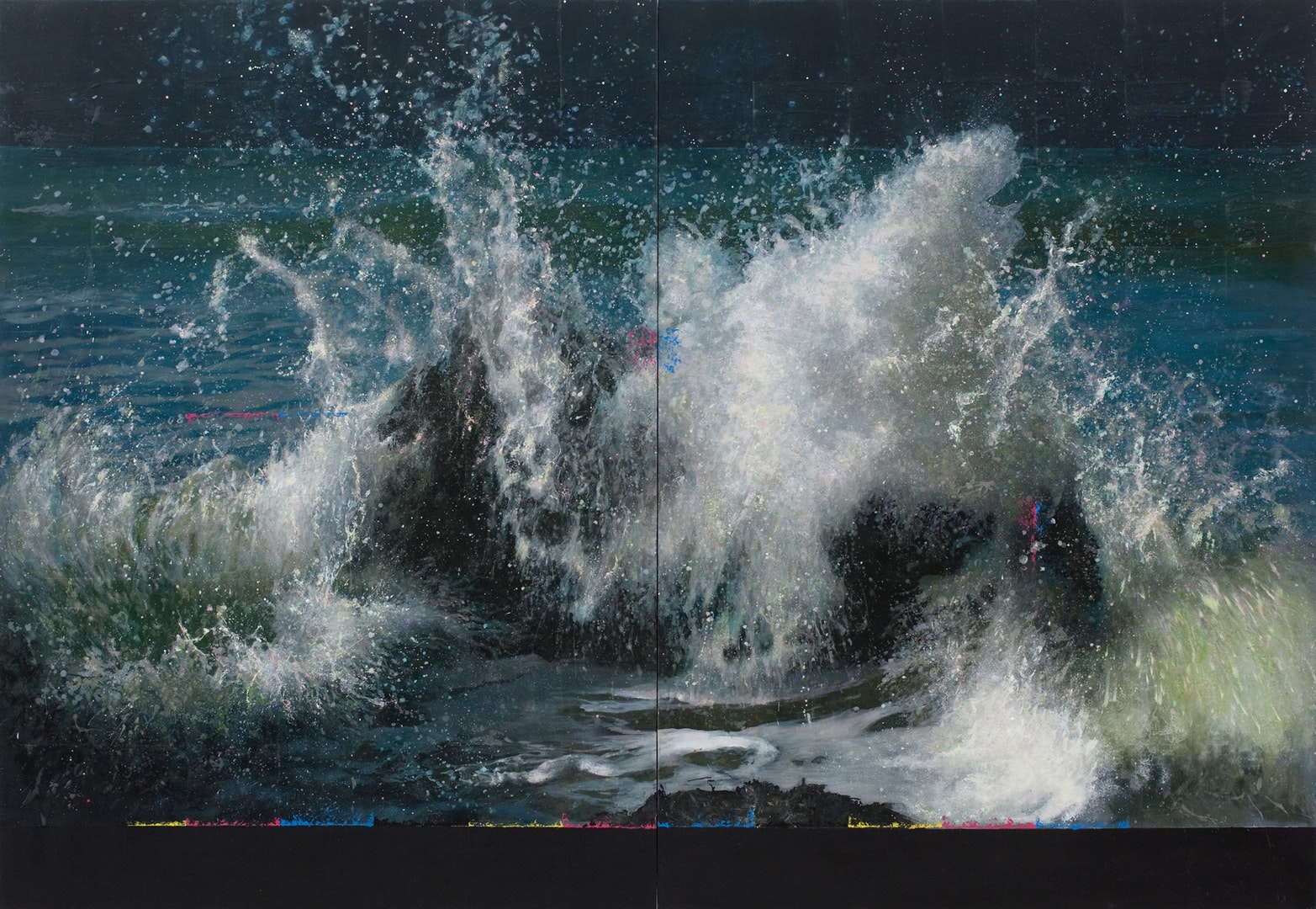'Wave Breaking Over Rock (XXV)', Michael Corkrey, Oil on canvas, with a layer of microcrystalline wax, 137 x 200 x 6 cm
