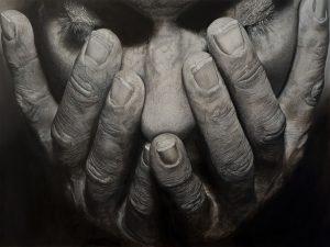 'Pain or Relief', Michael Sheldon, Oil on aluminium Panel, 61 x 46 x 3 cm