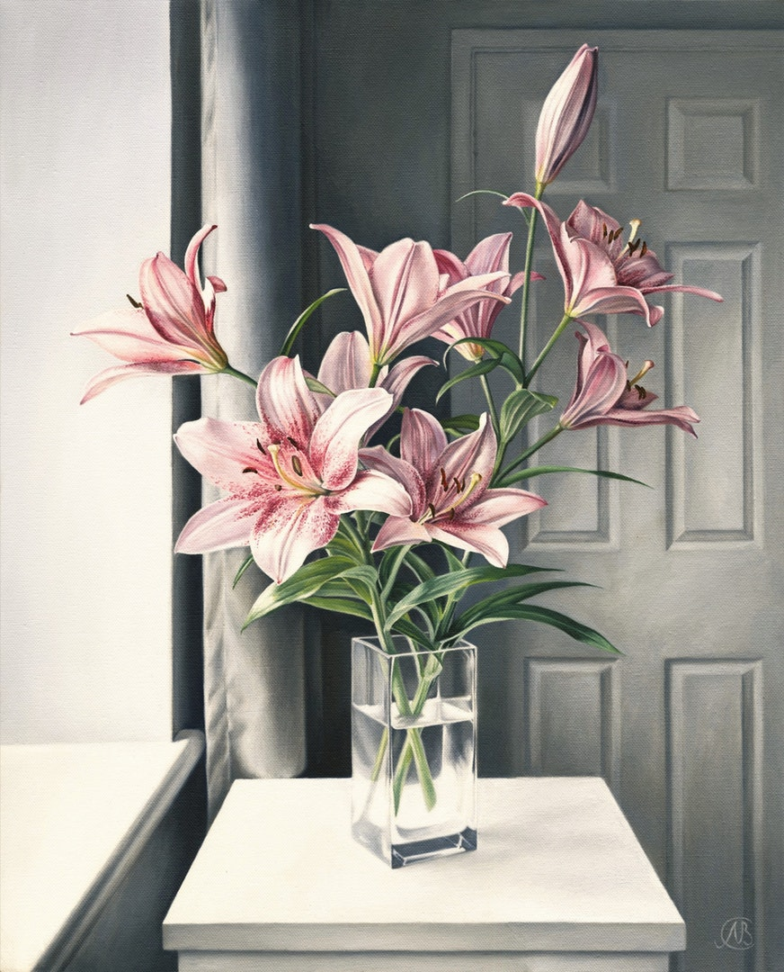 'Pink Lilies', Natalia Beccher, Oil on Canvas, 56 x 46 x 1.8 cm