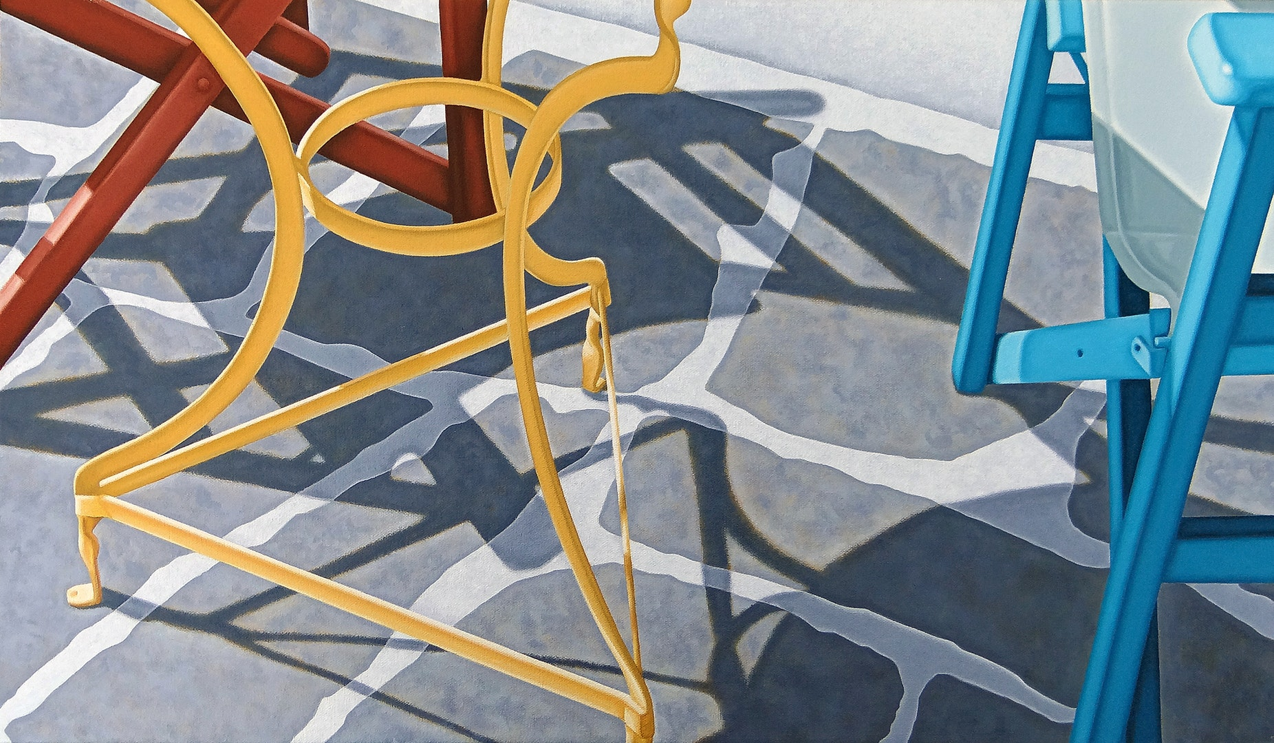 'Table and Two Chairs', Nicholas Harris, Acrylic on canvas, 35 x 61 x 2 cm