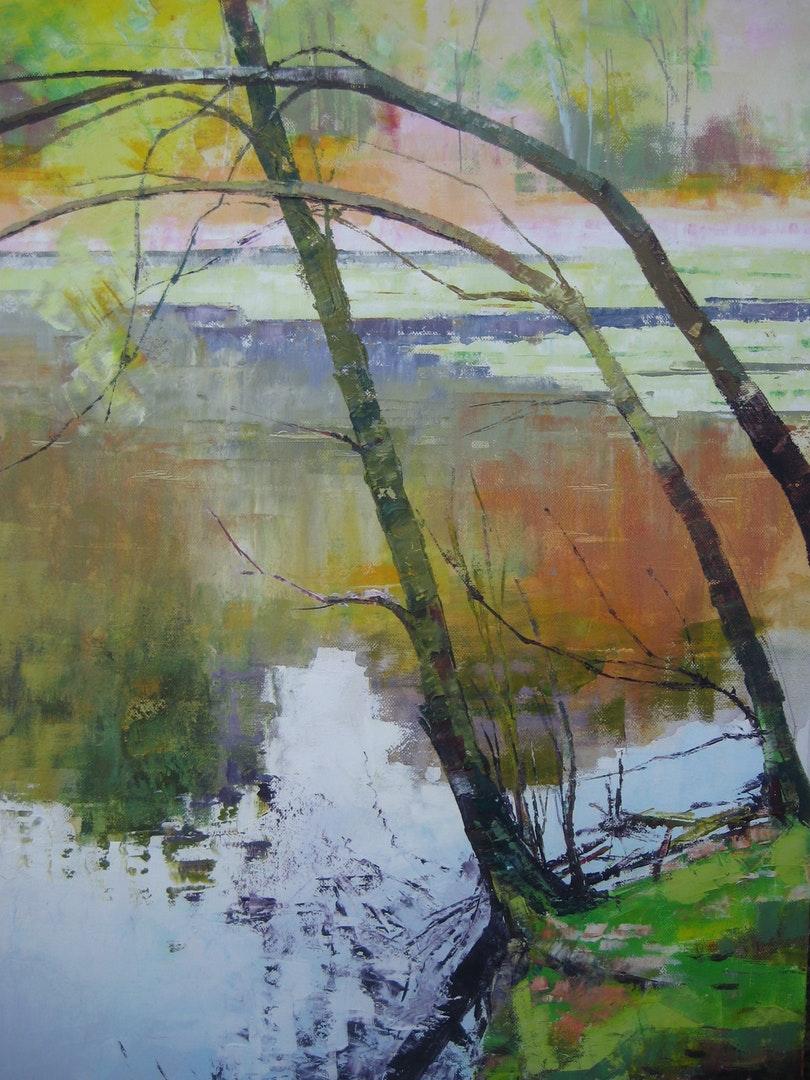 'Three Saplings', Nina O'Connell, Oil on canvas, 76 x 50 x 4 cm