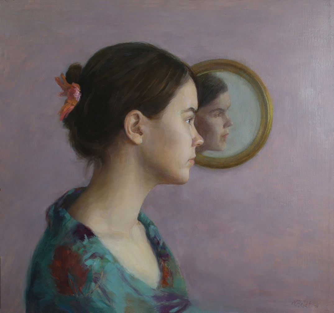 'Reflection', Ninni Heldt, Oil on board, 45 x 48 cm