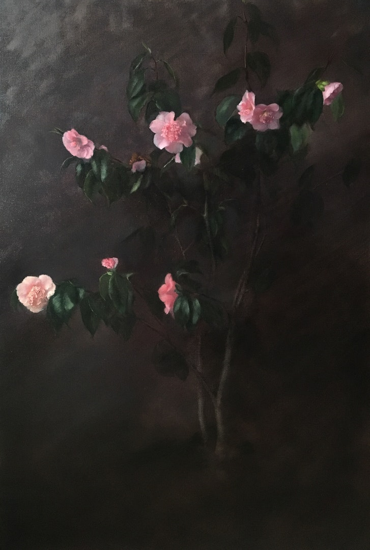 'Peonies in Family Vase', Nneka Uzoigwe, Oil on linen, 60 x 60 x 3 cm