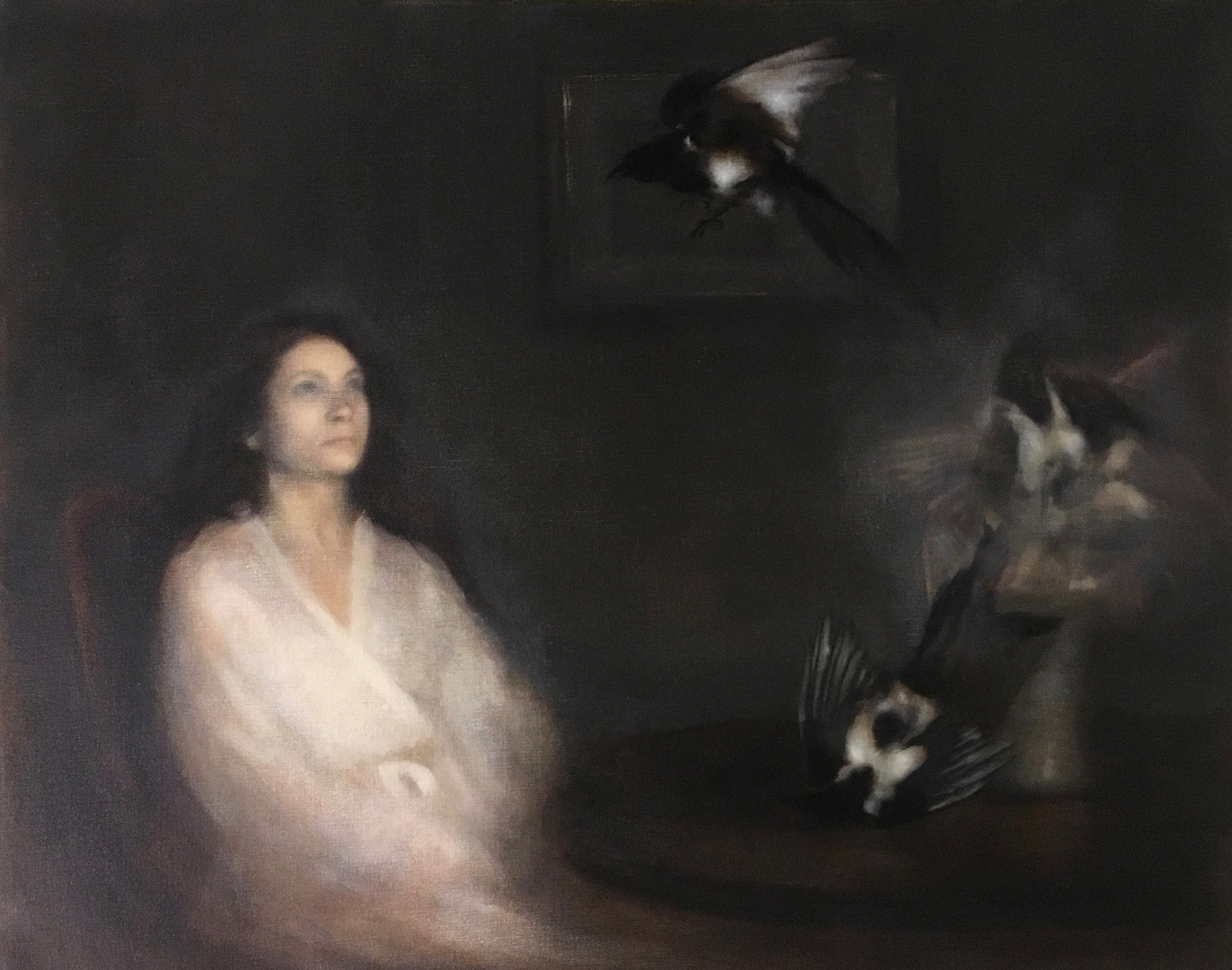 'Portrait of woman summoning magpies', Nneka Uzoigwe, Oil on linen, 82 x 102 x 5 cm