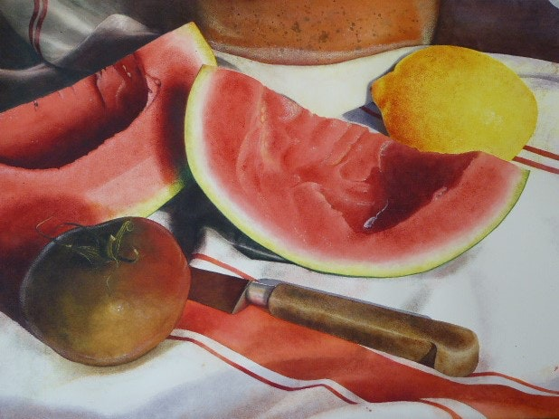 'Melon Delight', Norah Daykin, Watercolour and pastel, 56cm, 56 x 76 cm