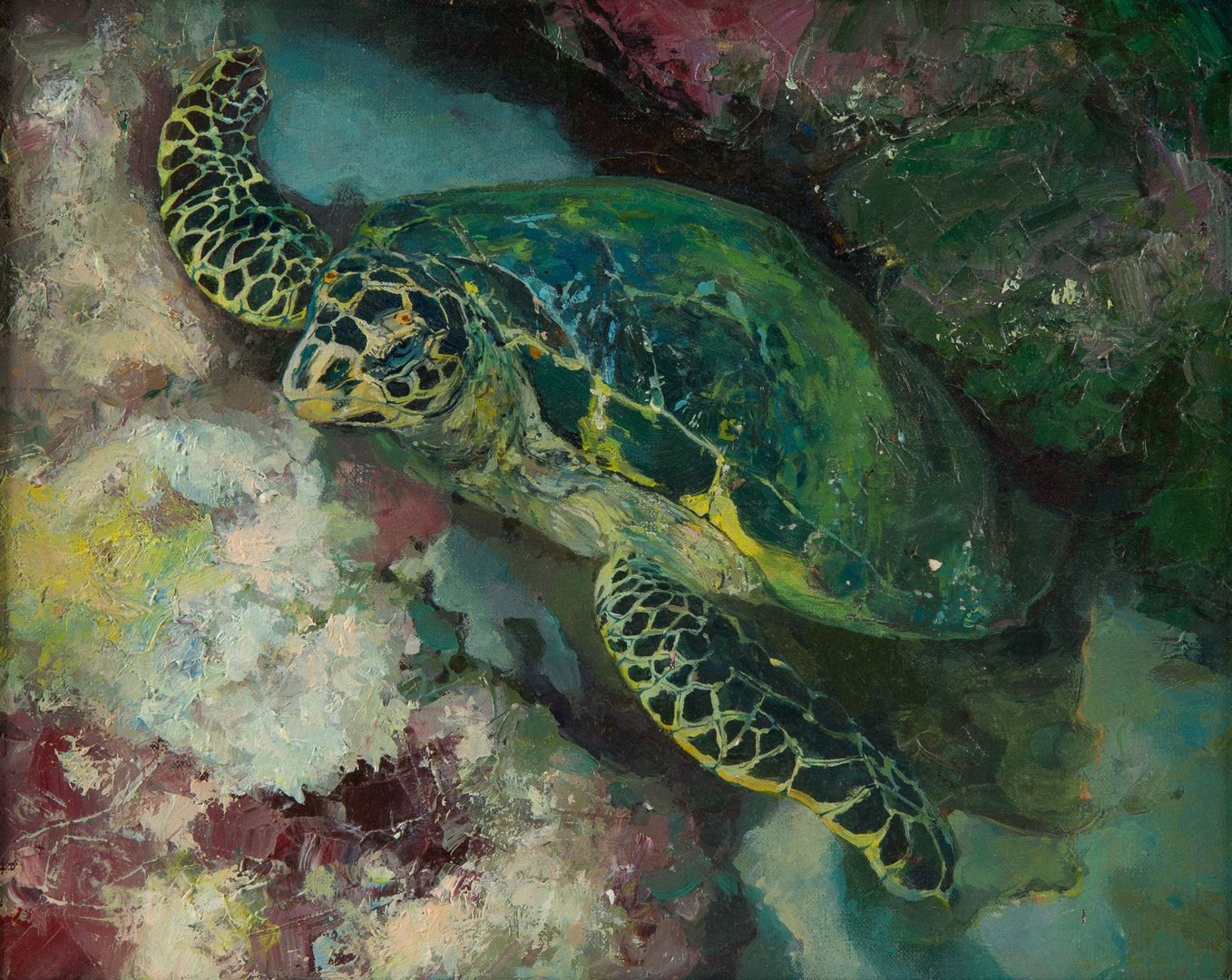 'Turtle of wisdom', Olga Smolentseva, Oil on canvas, 30 x 40 cm