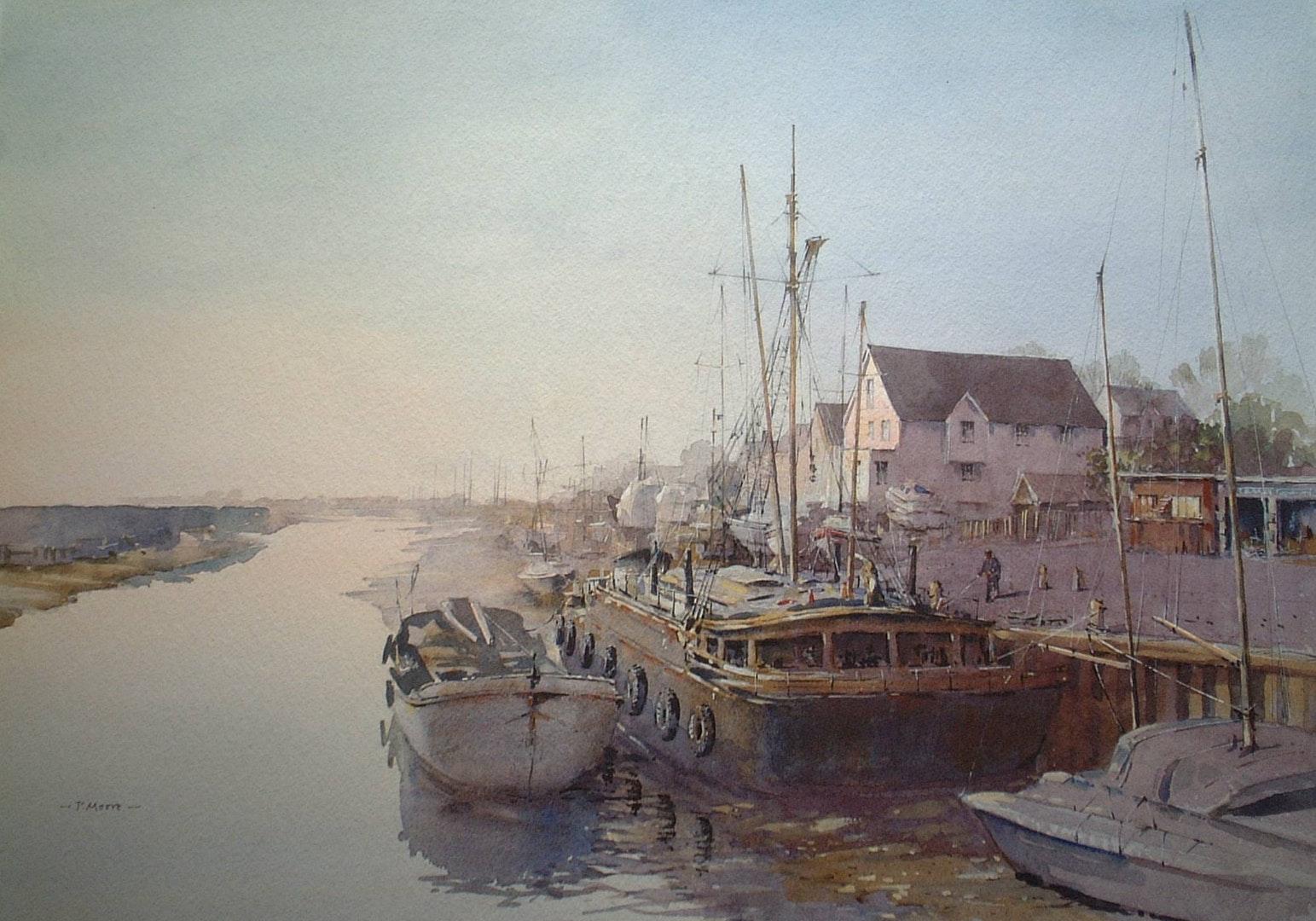 'Dawn Light at Maldon', Patsy Moore, Watercolour, 56 x 43 cm