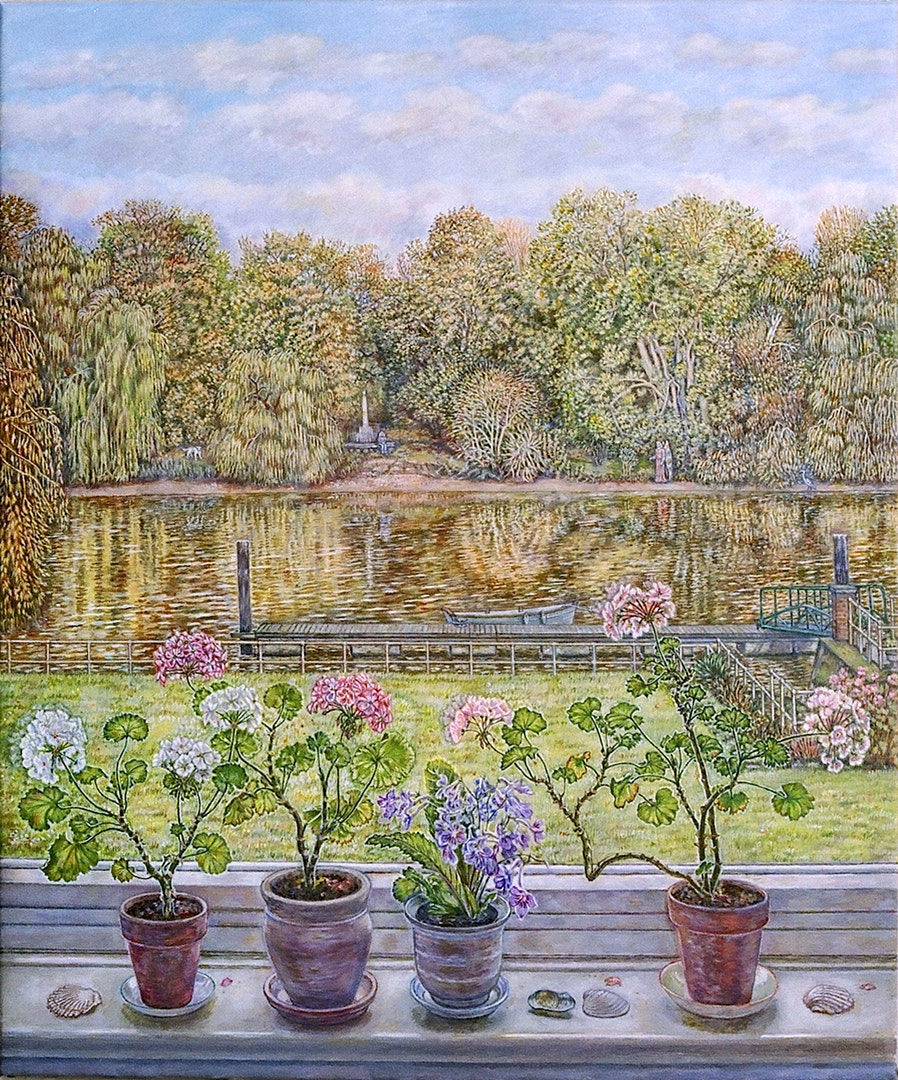 'Thames View with geraniums and shells', Patricia Buckley, Oil on canvas, 71 x 51 x 2 cm