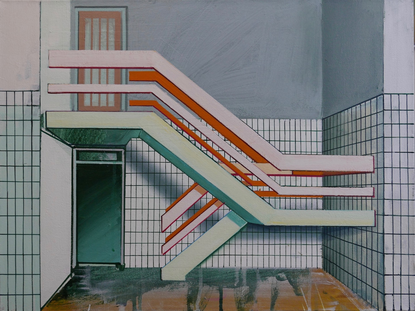 'Stairway', Paul Crook, Acrylic on canvas, 60 x 45 cm