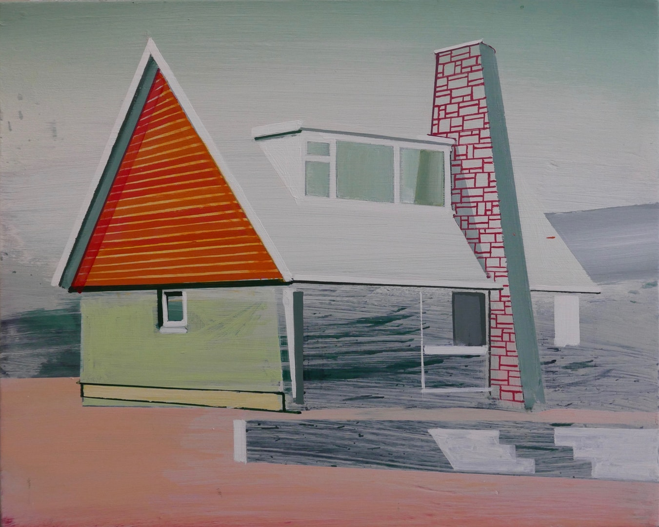 'triangle house', Paul Crook, Acrylic on canvas, 38 x 30 cm
