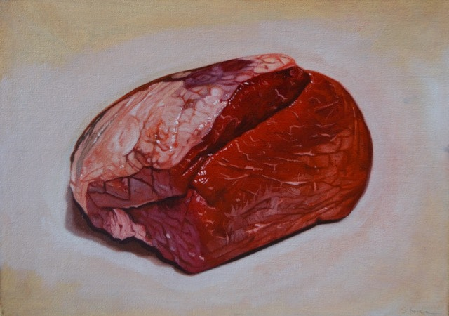 'Beef Joint', Paul Stone, Oil on canvas (on board), 26 x 37 x 3 cm