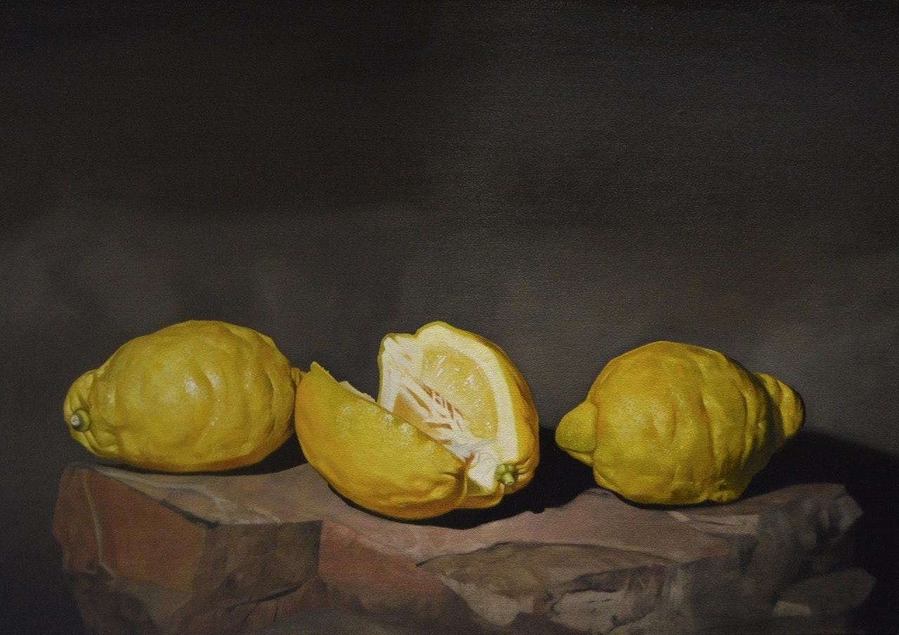 'Trinity Lemon', Paul Stone, Oil on canvas (on board), 40 x 57 x 3 cm