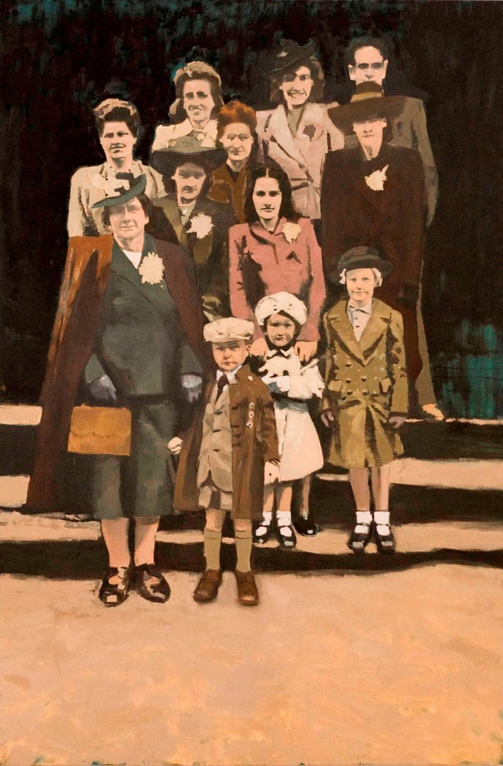 'Group Photo', Paul White, Oil on canvas, 198 x 122 x 4 cm