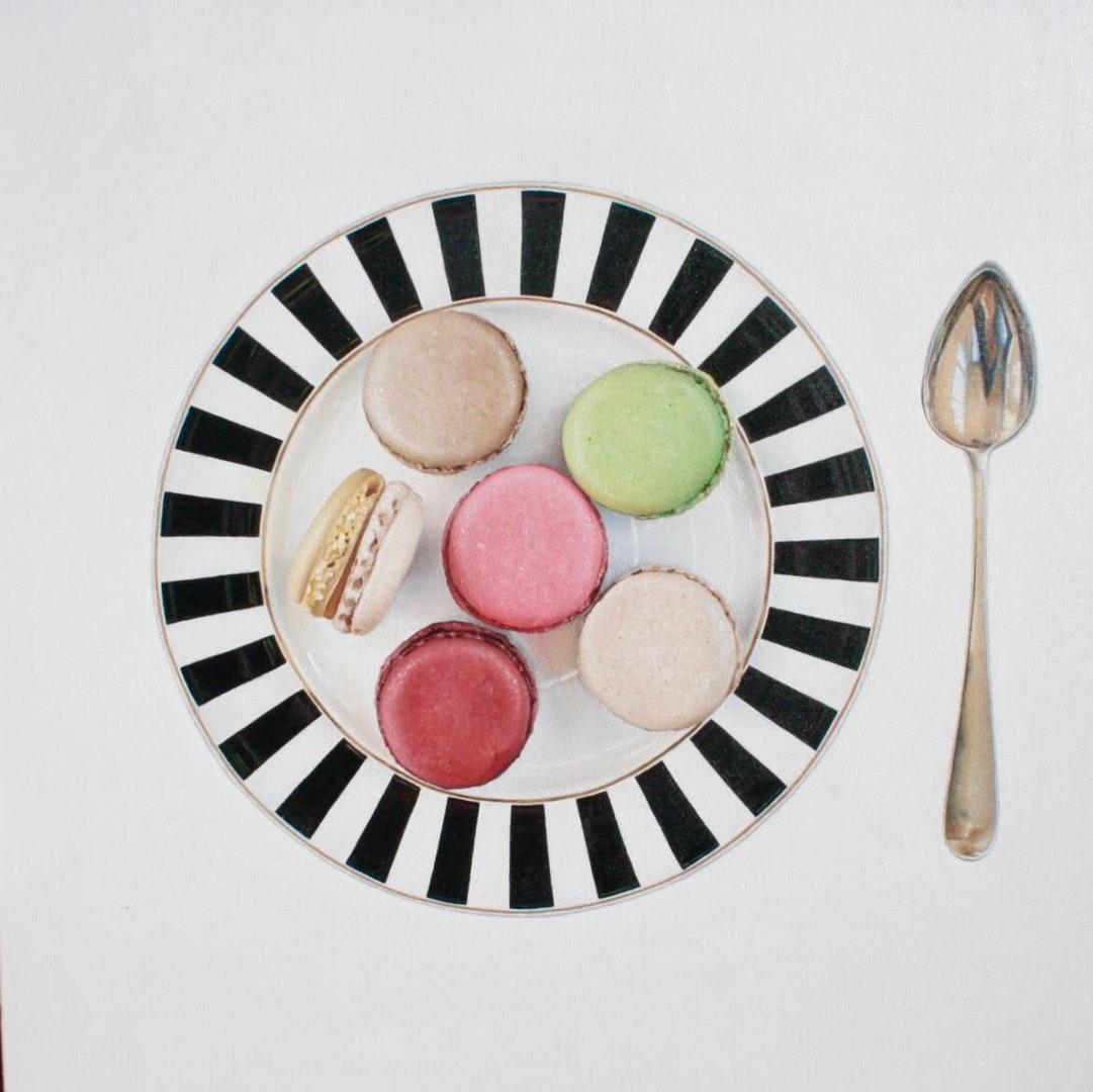 'Six Macaroons', Paula Urzica, Oil on canvas, 80 x 80 x 4 cm