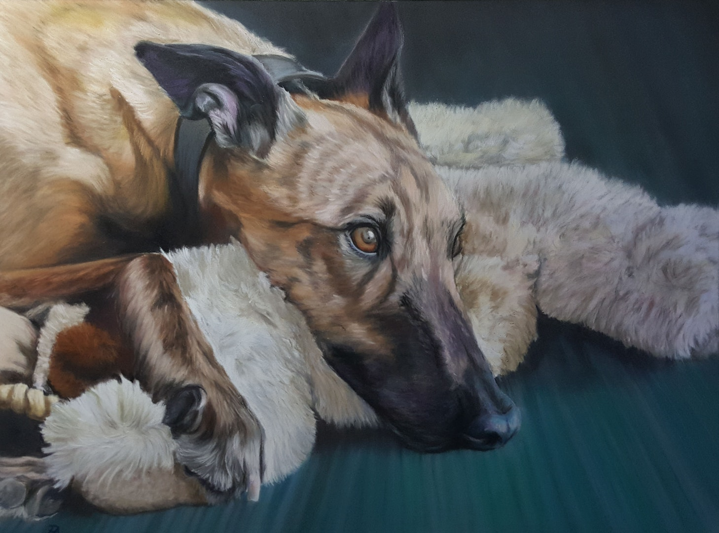 'Diesel and Bear', Penny Acres, Soft Pastels on pastelmat, 40 x 30 cm