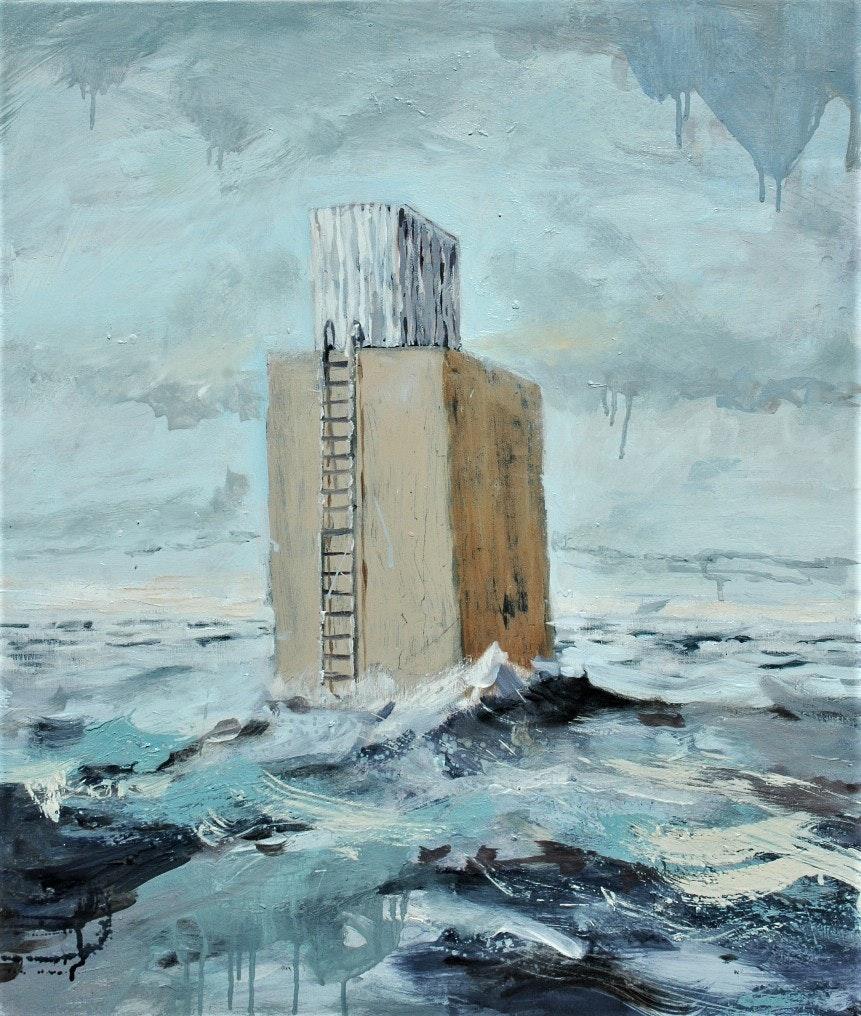 'Out', Richard Stevens, Oil on canvas, 70 x 60 x 5 cm