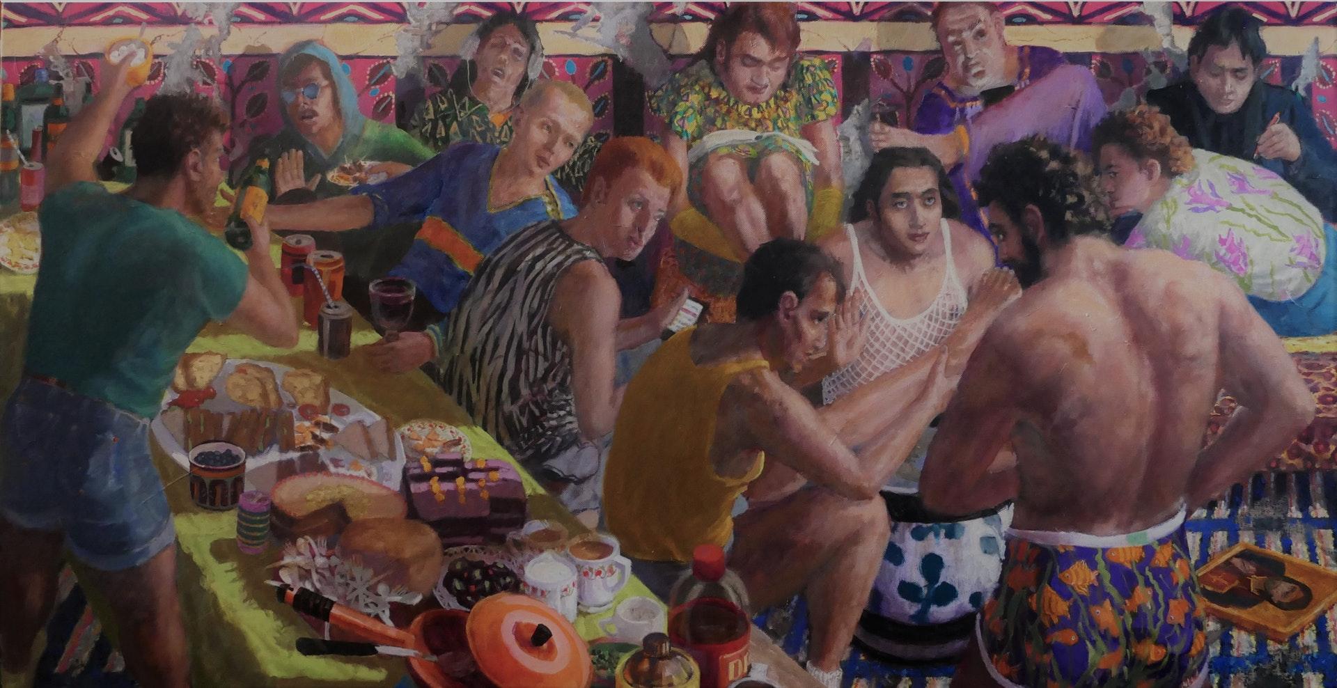'The Rehearsal', Robert Senior, Oil on canvas, 61 x 122 x 4 cm