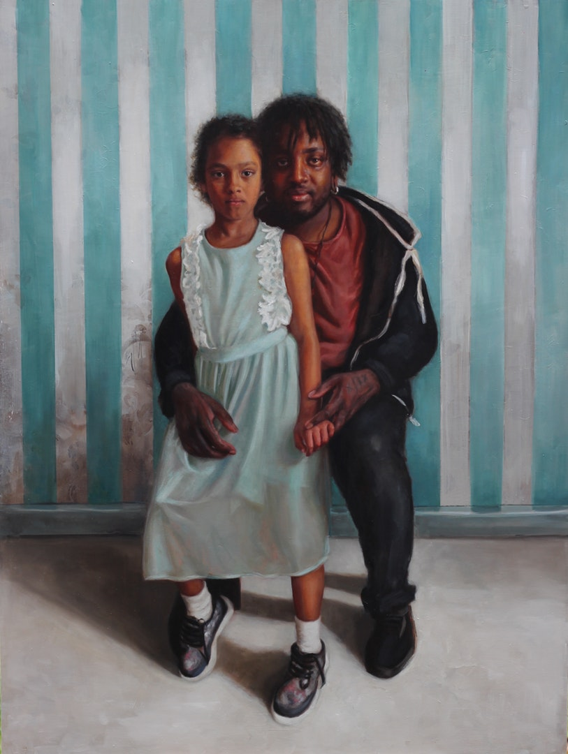'Paku & Gaia', Rosso Emerald Crimson, Oil on board, 122 x 92 x 3 cm