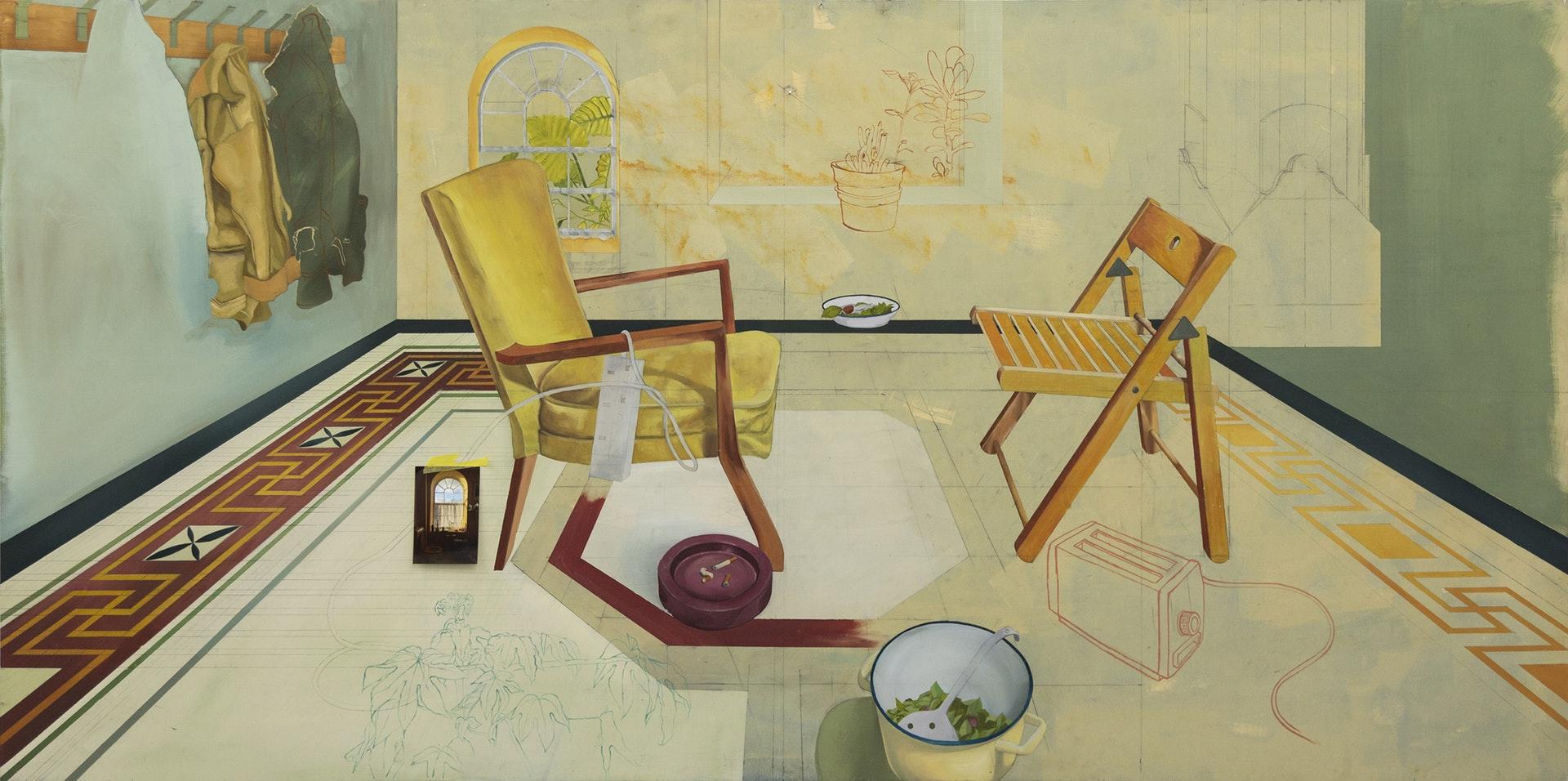 'Caravan I', Ruairi Fallon Mc Guigan, Oil Painting on Board, 1220 x 2440 x 1.8 cm