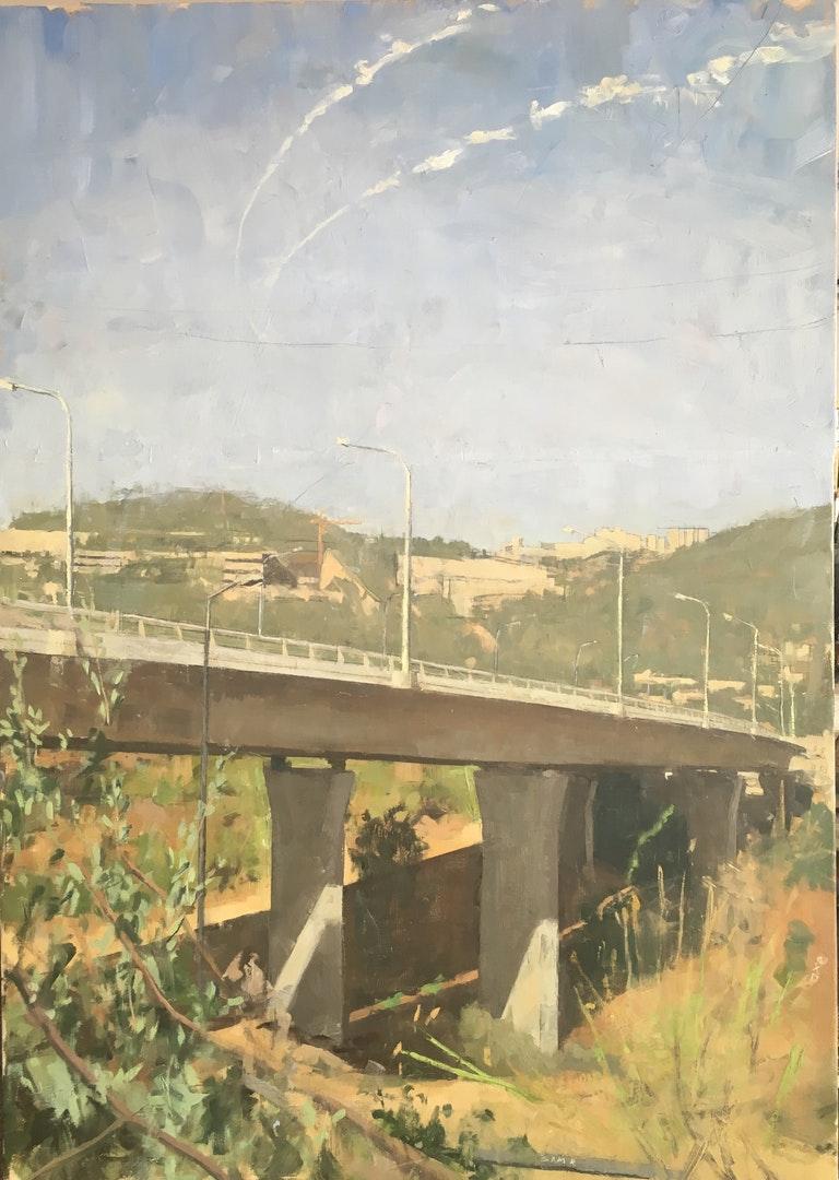 'the new bridge to jerusalem', Sam Rahamin, Oil on linen, 107 x 75 x 4 cm
