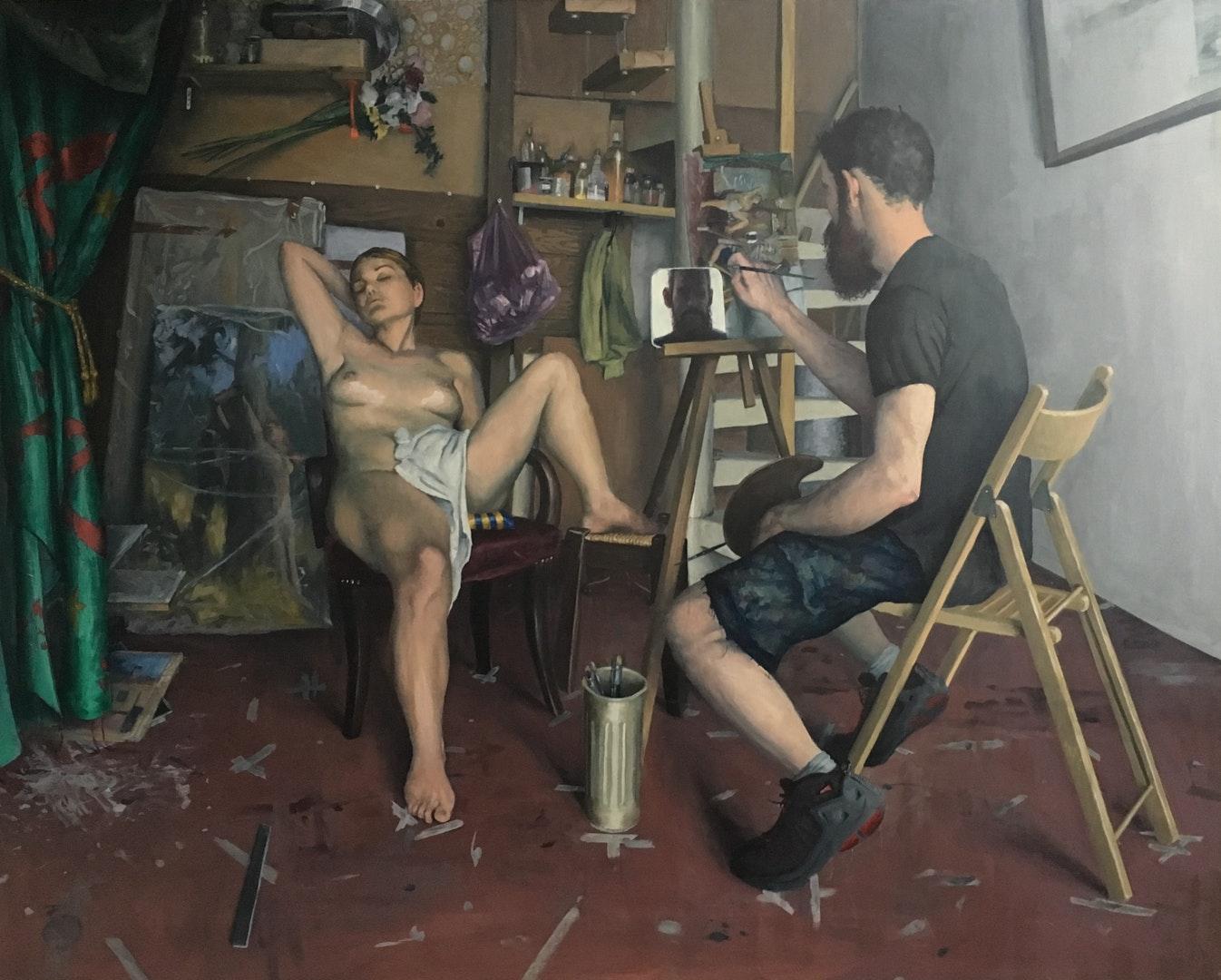 'Venus comes to visit my studio', Sam Rahamin, Oil on wood, 113 x 133 x 7 cm
