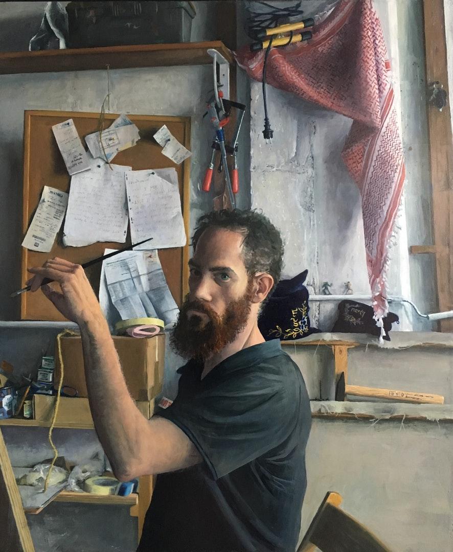 'auto portrait, studio in paris 2019', Sam Rachamin, Oil on wood, 103 x 87 x 4 cm