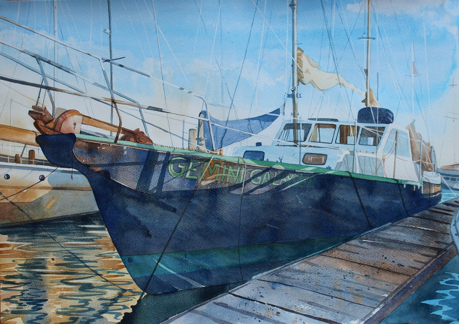 'Gemini Galaxsea', Sophie Penstone, Watercolour, 42 x 59 cm