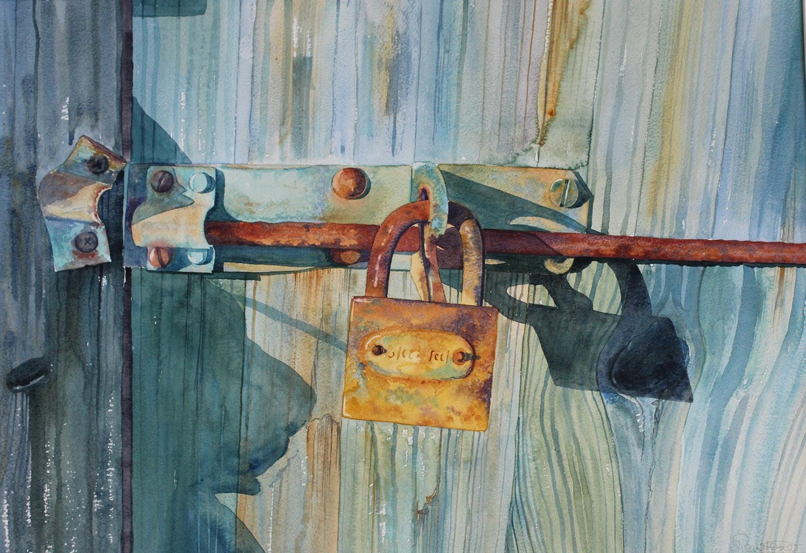 'The Padlock', Sophie Penstone, Watercolour, 42 x 59 cm