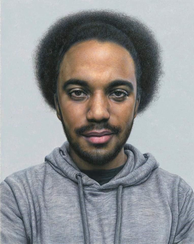 'Robert', Steve Caldwell, Acrylic on wood panel, 30 x 24 x 1 cm