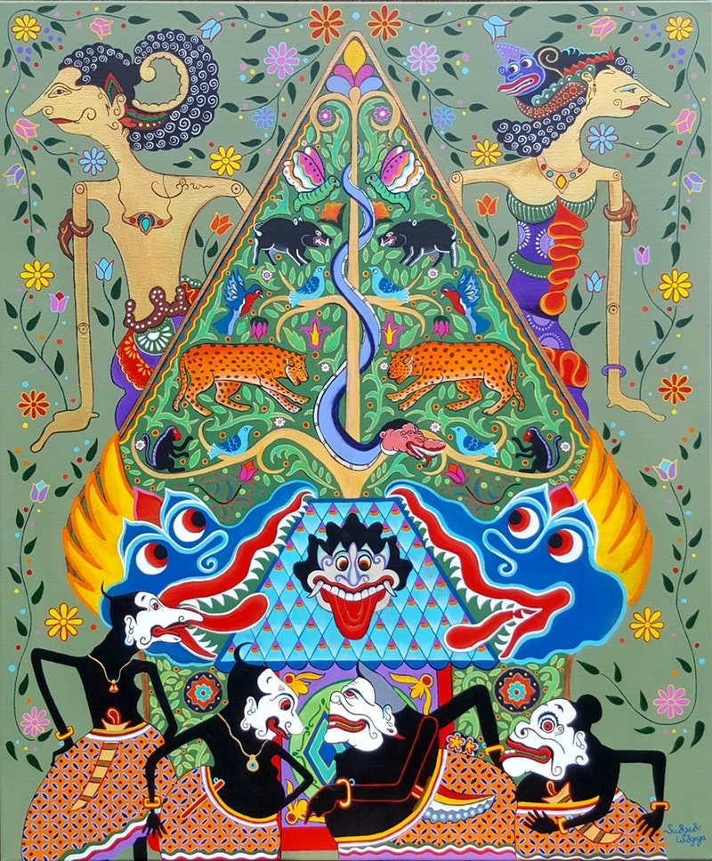'When Arjuna met Srikandi', Sudjadi Widjaja, Acrylic on canvas, 120 x 100 x 4 cm