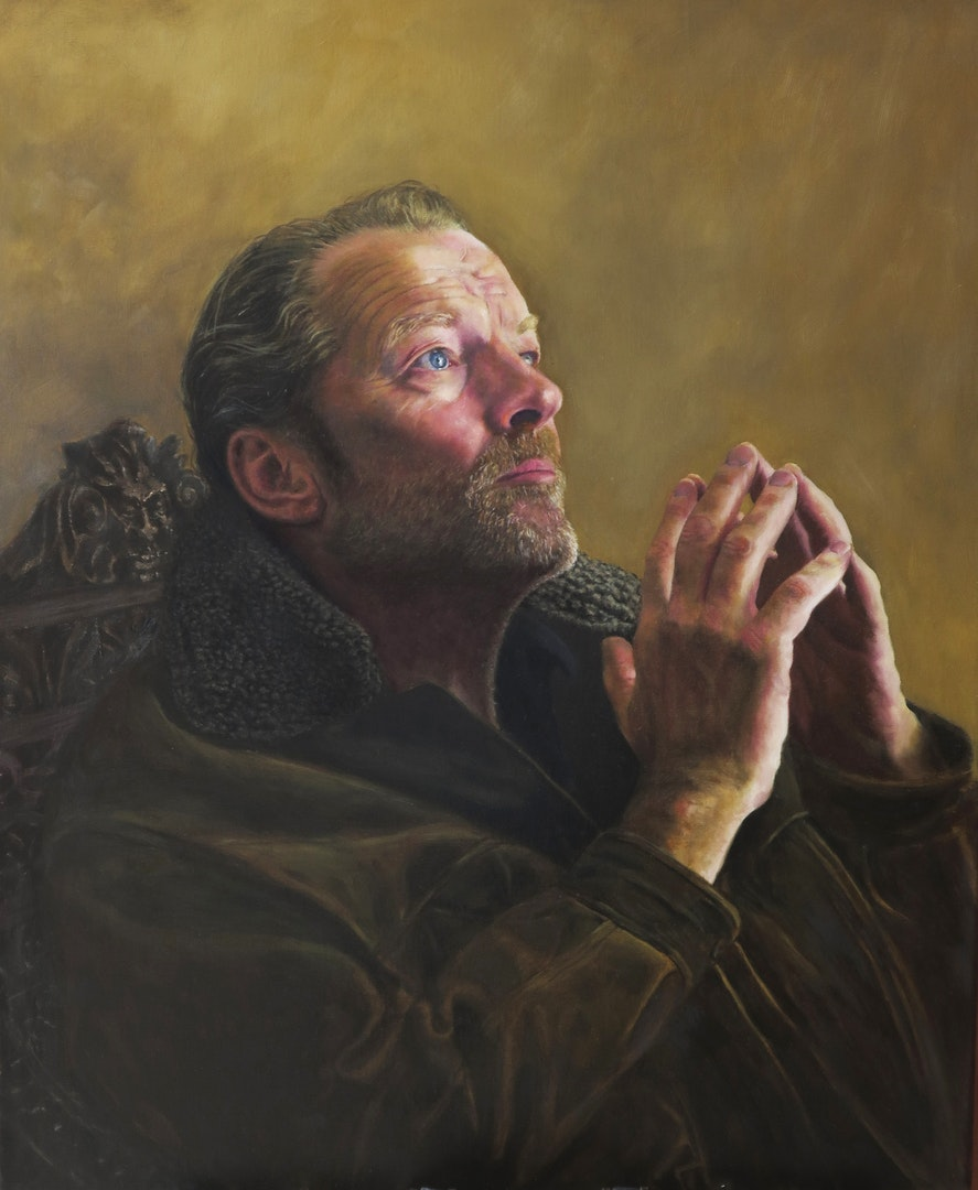 Iain wearing my jacket, Terry Kent, Oil on Linen, 75 x 60 cm