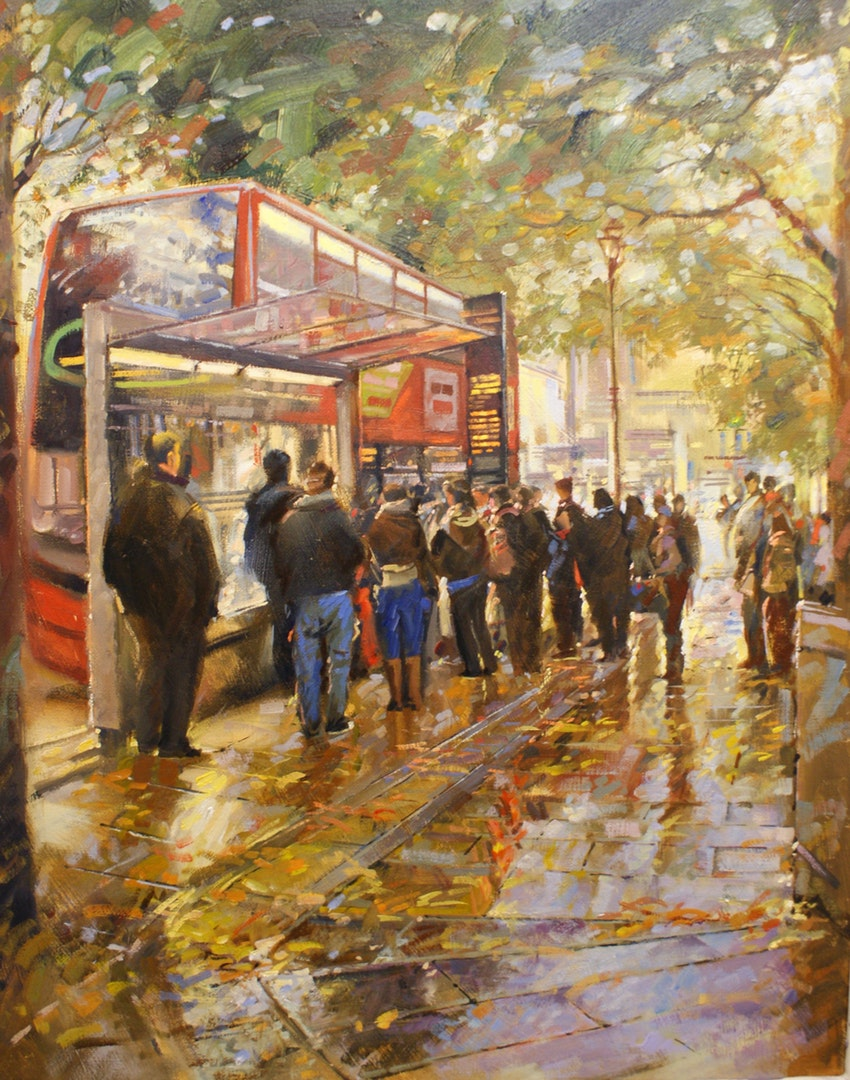 Queuing For Bus Colmore Row, Terry Lord, Oil on canvas, 50 x 40 cm