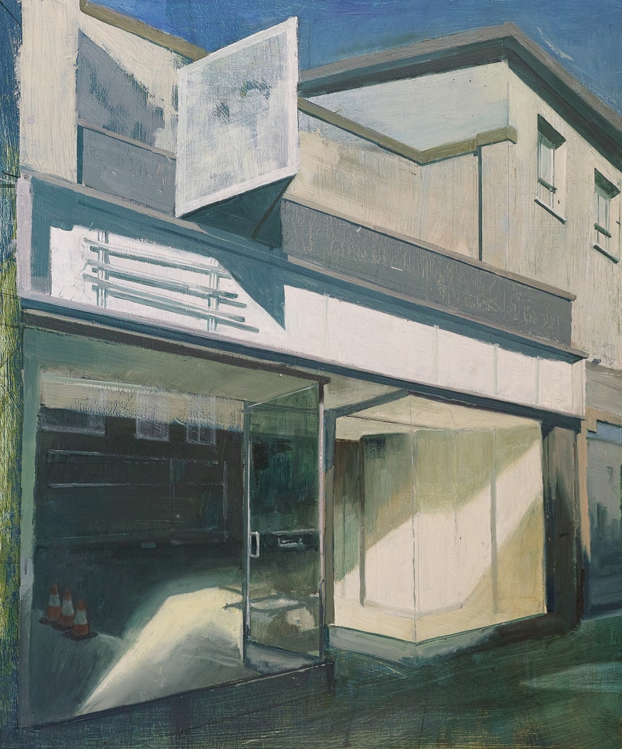 Empty Shop With Missing Signage, Tim Goffe, Oil on Panel, 64 x 54 x 5 cm