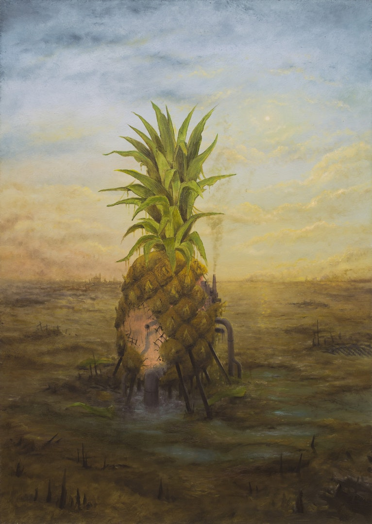 Last Pineapple, Tomasz Wrobel, oil on board, 60 x 42 x 3 cm