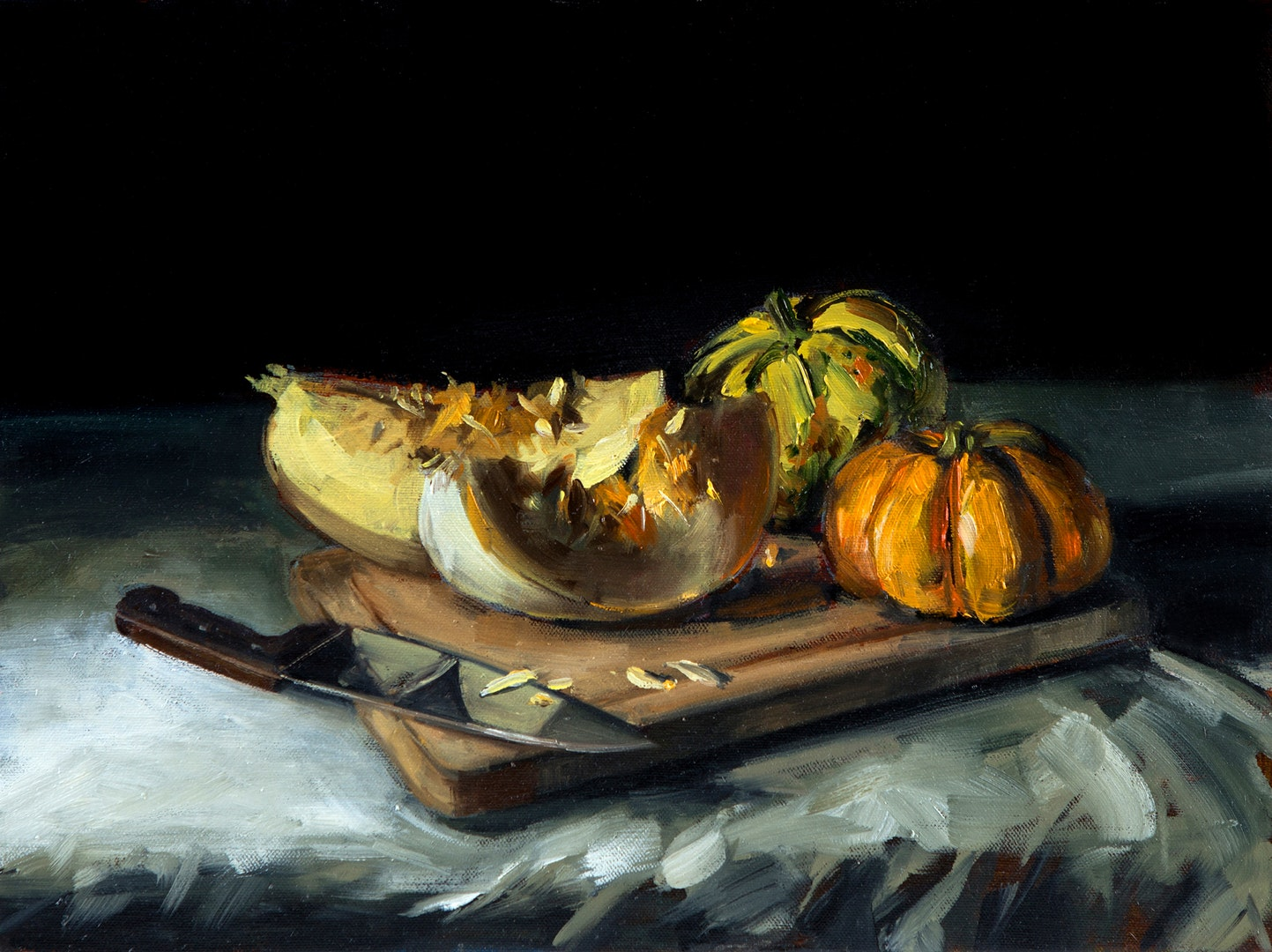 Ghost Pumpkins and Gourds, Tushar Sabale, Oil on Canvas board, 50 x 80 x 5 cm
