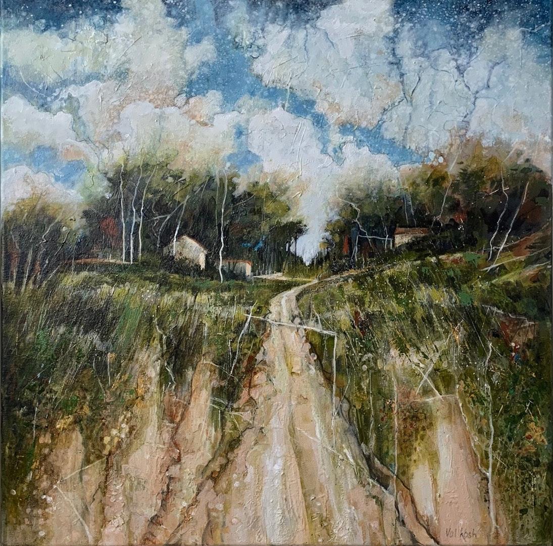 Ridge Farm, Val Kosh, Acrylic on cotton canvas, 60 x 60 x 2 cm