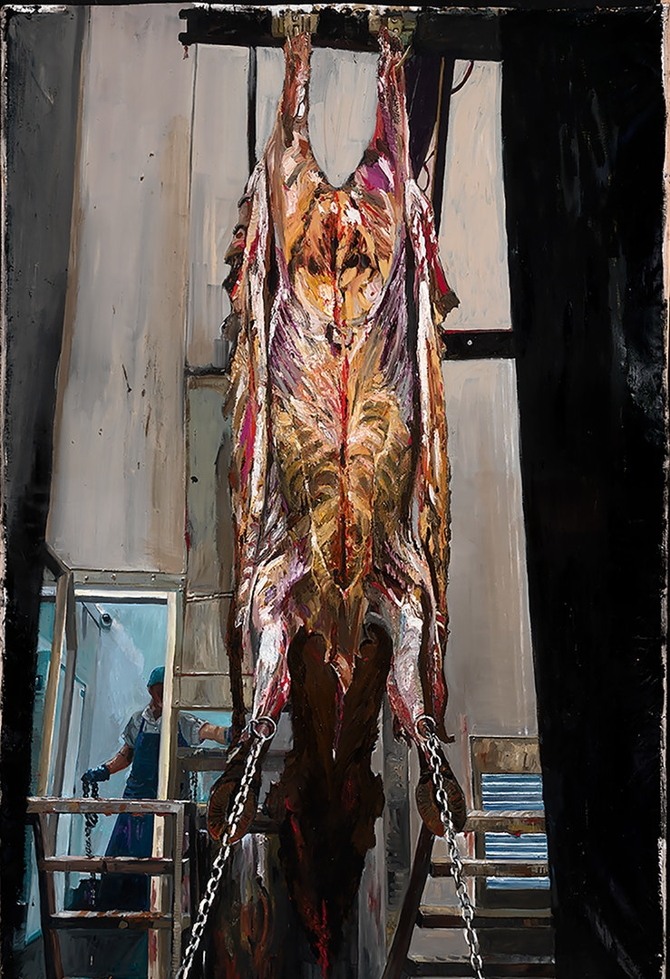 The Flayed Ox, W.K. Lyhne, Oil on Linen, 255 x 125 x 5 cm