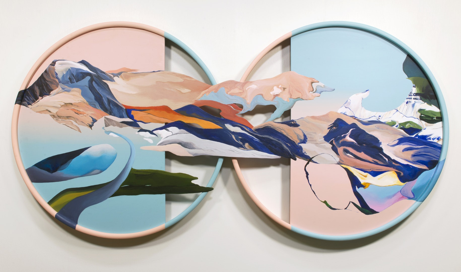 'An ordinary alteration between sun and moon', Ziling Wang, Acrylic on wood panel, 50 x 100 x 4 cm