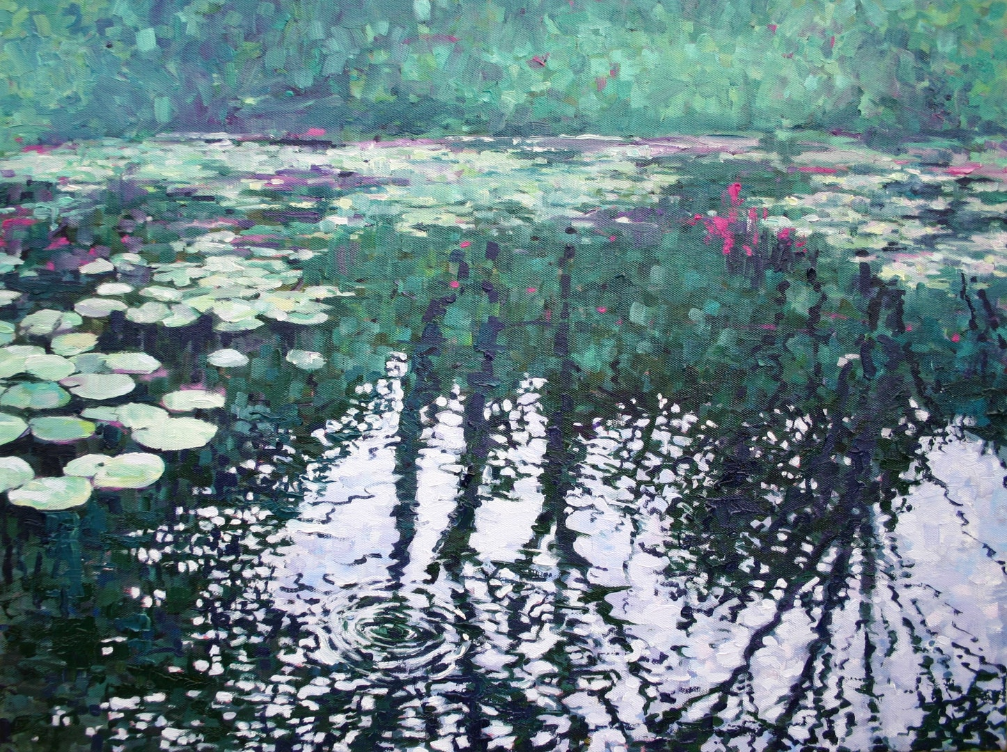 'Lily Pond Reflections', Zoe Norman, Oil on stretched cotton canvas, 41 x 61 cm