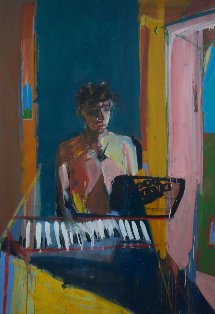 'Puberty And The Piano', Ella Squirrell, Oil paint on linen, 173 x 121 x 4 cm